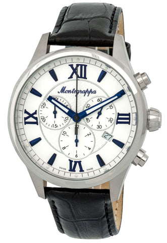 Montegrappa Fortuna Chronograph Date White Dial Black Leather Strap Quartz Men's Watch IDFOWCLB