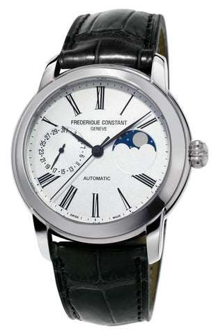 Frederique Constant Classic Moonphase Manufacture Automatic Silver Dial Black Leather Strap Mens Watch FC-712MS4H6