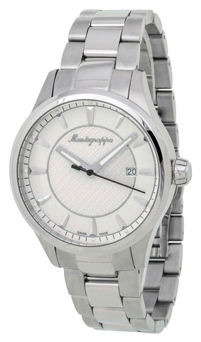 Montegrappa Fortuna White Dial Stainless Steel Quartz Men's Watch Date IDFOWAIJ