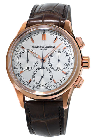 Frederique Constant Flyback Chronograph Manufacture Rose Gold Tone Steel Silver Dial Brown Leather Strap Automatic Mens Watch FC-760V4H4