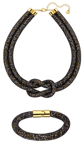 Swarovski Stardust Exclusive Edition 5184480 Black and Gold Set of Necklace and Bracelet for Women