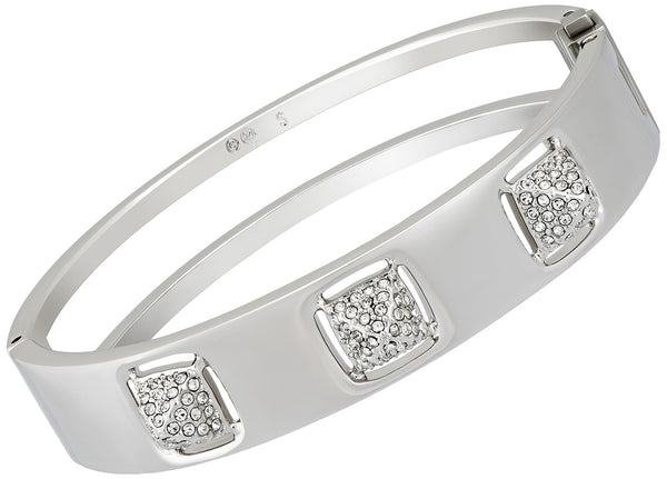 Swarovski Tactic Rhodium Plated Stainless Steel Crystal Pavé Hinge Bangle for Women Small 5033034