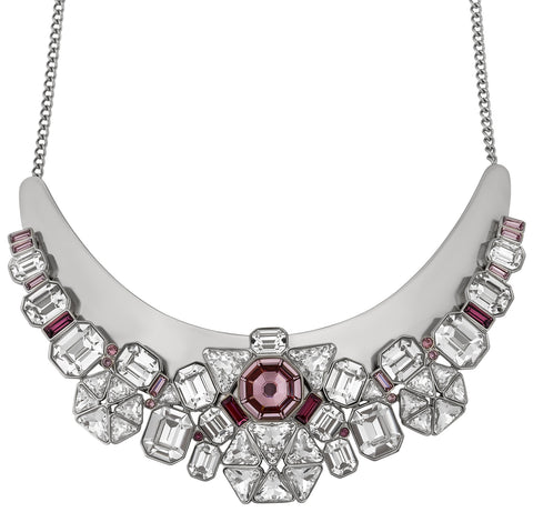 Swarovski Diana Palladium Plated 5141353 Pink and Clear Multi-Stone Bib Necklace for Women
