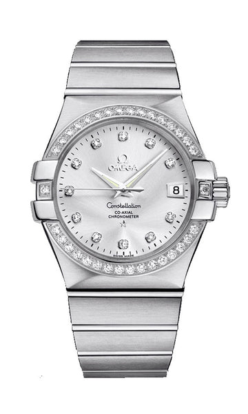Omega Constellation Steel & Diamond Automatic Womens Watch Silver Dial Date 123.15.35.20.52.001