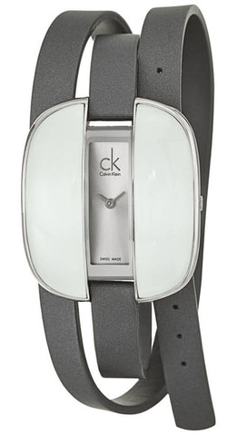 Calvin Klein Treasure Wrap Around Gray Cloth Leather Silver Dial Quartz Womens Watch K2E23620