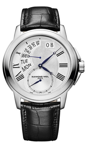 Raymond Weil Tradition Stainless Steel Mens Watch Day of Week Retrograde 9579-STC-65001