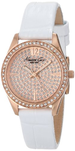 Kenneth Cole New York Women's Quartz Stainless Steel Case Leather Strap White,(Model:KC2844)