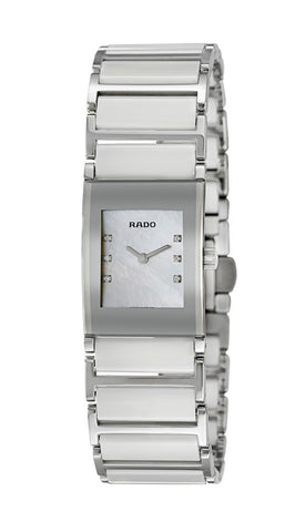 Rado Integral Jubile Stainless Steel and White Ceramic Quartz Mother of Pearl Dial Diamonds Womens Watch R20747901