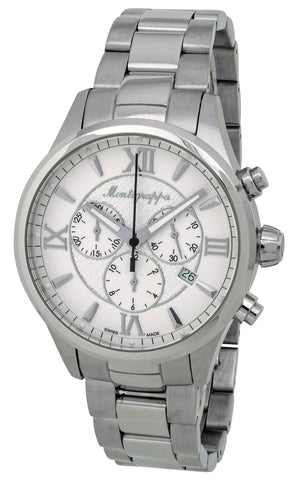 Montegrappa Fortuna Chronograph Date White Dial Stainless Steel Quartz Men's Watch IDFOWCIJ