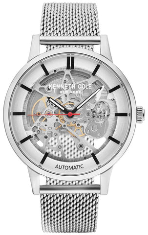 Kenneth Cole Automatic Skeleton Watch with Mesh Band KC50559010