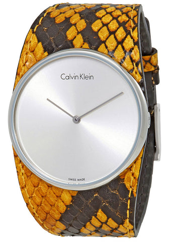 Calvin Klein Spellbound Yellow and Black Leather Silver Dial Quartz Womens Watch K2E23626