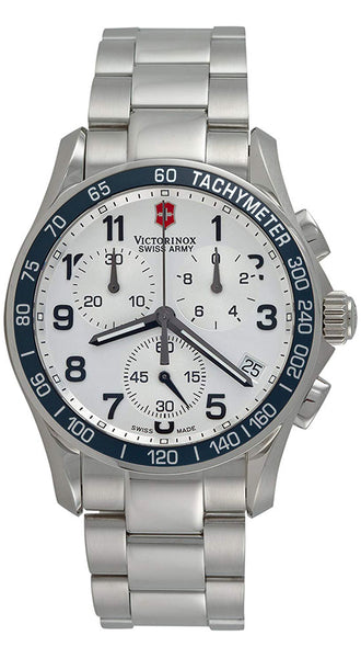 Victorinox Swiss Army Chrono Classic Steel Silver Chronograph Dial Tachymeter Scale Date Men's Watch 241121