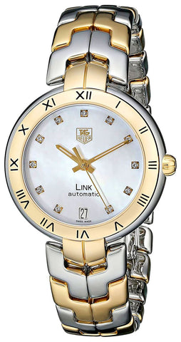 TAG Heuer Link Automatic Yellow Gold and Steel Mother-of-Pearl Dial Diamonds Date Womens Watch WAT2351.BB0957