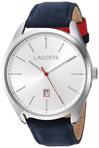 Lacoste Men's San Diego Stainless Steel Quartz Watch with Suede Strap, Blue, 22 (Model: 2010909)