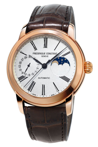 Frederique Constant Classic Moonphase Manufacture Rose Gold Tone Steel Automatic Silver Dial Brown Leather Strap Mens Watch FC-712MS4H4
