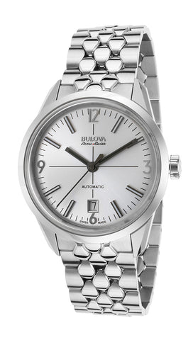 Bulova Accu-Swiss Murren Automatic Stainless Steel Mens Watch Silver Dial Date 63B177