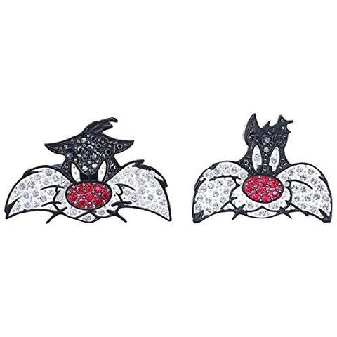 SWAROVSKI Crystal Authentic Looney Tunes Sylvester Cuff Links, Rhodium Plated - Sparkly Unisex Cufflinks for Dress Shirt, Suits, Formal and Casual Attire - Unique Fashion Jewelry for Men and Women