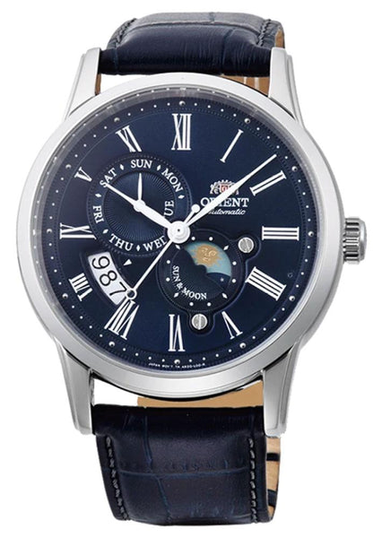 Orient Sun And Moon Version 3 Automatic Stainless Steel Blue Leather Strap Blue Dial Day-Date Mens Watch FAK00005D0