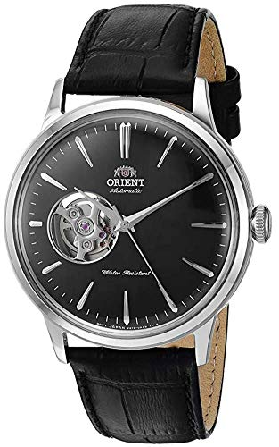 Orient Men's Bambino Open Heart Stainless Steel Automatic Watch with Leather Strap, Black, 21 (Model: RA-AG0004B10A)