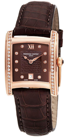 Frederique Constant Delight Carree Rose Gold Plated & Diamond Brown Leather Womens Watch Date FC-220CHD2ECD4