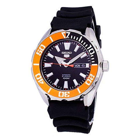 Seiko 5 Sports SRPC59 Men's Rubber Band Orange Bezel 100M Automatic Dive Watch