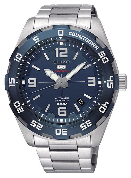 Seiko 5 Sports Stainless Steel Blue Dial Automatic Date Mens Watch SRPB85K1