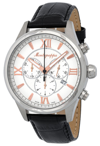 Montegrappa Fortuna Chronograph Date White Dial Black Leather Band Quartz Men's Watch IDFOWCLR