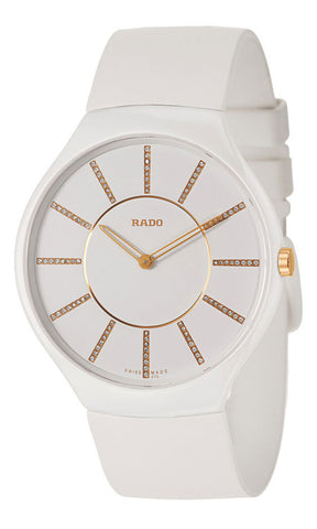 Rado True Thinline White Ceramic Womens Watch Pin Buckle Clasp Diamonds Quartz R27957709