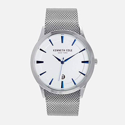 Kenneth Cole New York Stainless Steel Blue Hands Quartz Mesh Band Mens Watch - KC50490005