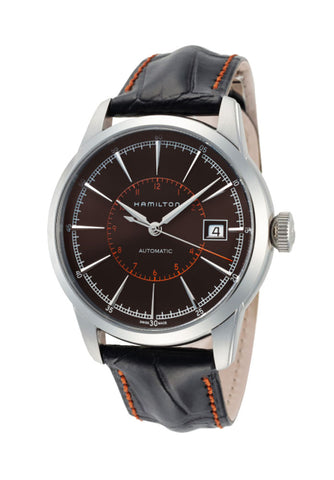Hamilton American Classic Railroad Automatic Steel Black Dial Black Leather Strap Men's Watch H40555731