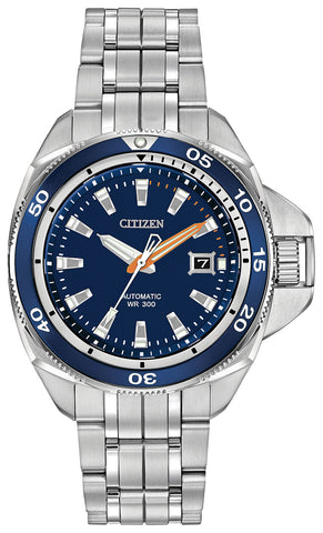 Citizen Signature Grand Touring Automatic Stainless Steel Blue Dial Divers Date Mens Watch NB1031-53L