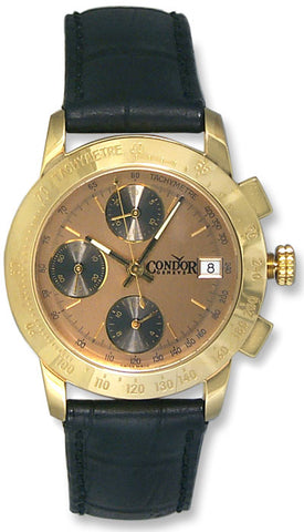 Condor Automatic Chronograph Tachymetre Scale 18k Gold Mens Strap Watch Date 18kt