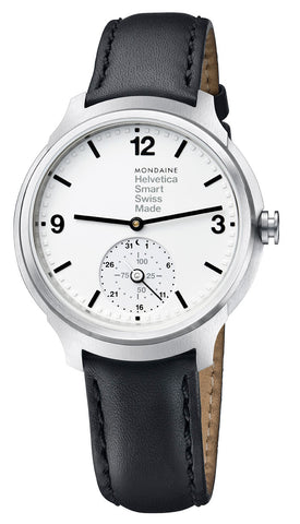 Mondaine Helvetica No1 Bold Stainless Steel Mens Smartwatch MH1.B2S10.LB Black Leather Strap Quartz