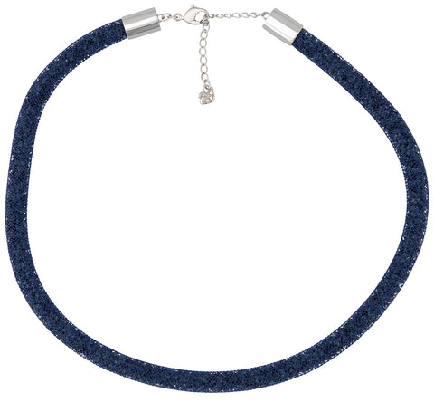 Swarovski Stardust Dark Blue Nylon Fishnet Tube Crystal Necklace for Women 5127503