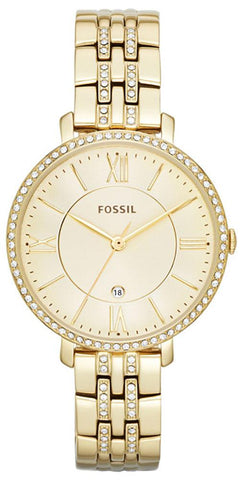 Fossil Jacqueline Gold-Tone Stainless Steel Gold-Tone Dial Crystals Date Quartz Womens Watch ES3547
