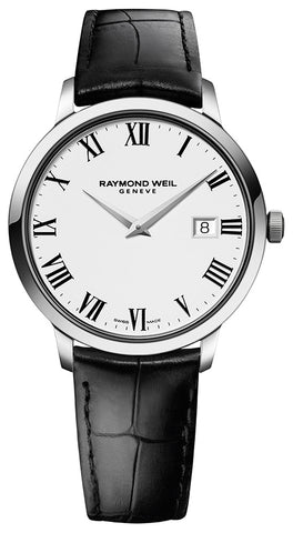 Raymond Weil Toccata White Dial Steel Mens Watch Sapphire Crystal Tang Clasp Quartz Date 5488-STC-00300