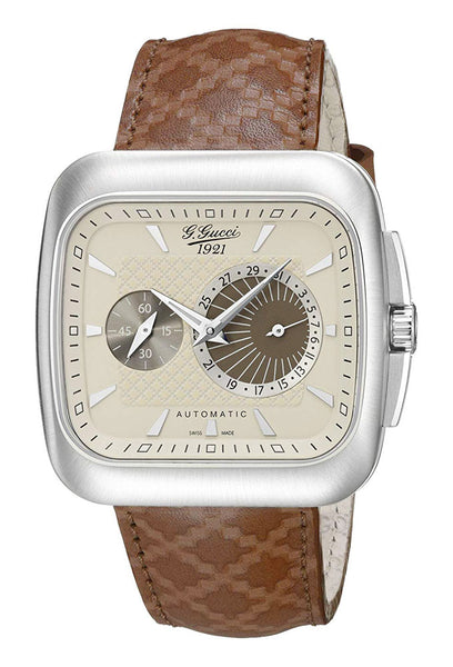 Gucci G-Coupe Special Edition Automatic Stainless Steel YA131307 Cream Dial Date Brown Leather Strap Mens Watch