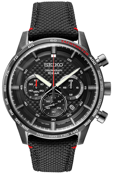 Seiko Chronograph Black Stainless Steel Black Dial Nylon Leather Band Quartz Date Mens Watch SSB359P1