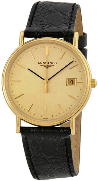 Longines Presence Unisex Gold PVD Case Black Leather Strap Watch L47202322