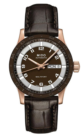 Mido Multifort Brown Dial Day-Date Brown Leather Strap Automatic Unisex Watch M018.830.36.292.00