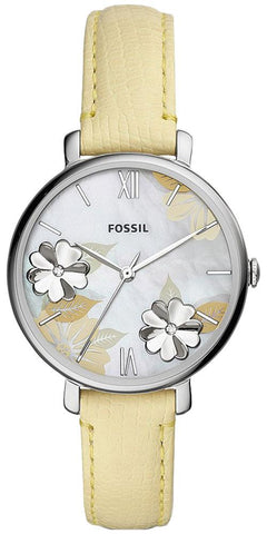 Fossil Jacqueline Three-Hand Mother-of-Pearl Floral Dial Lemon Leather Womens Watch ES4812