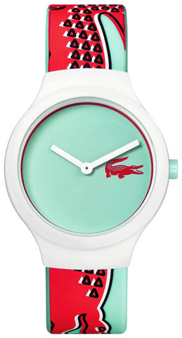 Lacoste Goa White Plastic Case 2020114 Analogue Quartz Sea Green Dial Silicone Strap Women's Watch
