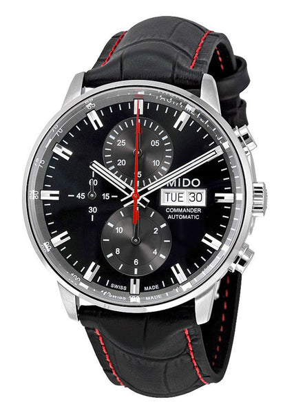 Mido Commander II Automatic Chronograph Black Leather Strap Black Dial Mens Watch M016.414.16.051.00