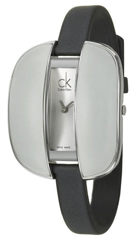 Calvin Klein Treasure Gray Cloth Leather Band Silver Dial Quartz Womens Watch K2E23626