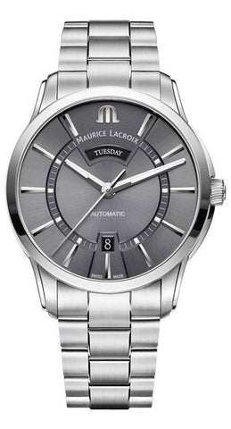 Maurice Lacroix Pontos Stainless Steel Gray Dial Day-Date Automatic Mens Watch PT6358-SS002-332