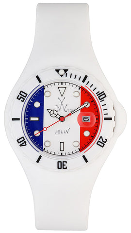 ToyWatch Jelly Flag France Only Time Unisex Plasteramic & White Rubber Watch JYF02FR