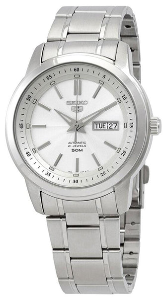 Seiko 5 Automatic Stainless Steel White Dial Day-Date Mens Watch SNKM83K1