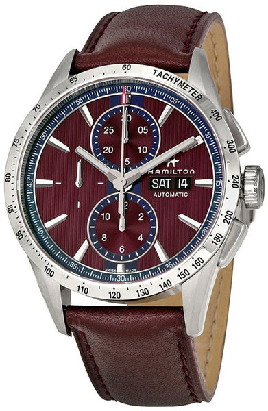 Hamilton Broadway Automatic Chronograph Day of Week Date Burgundy Men's Strap Watch H43516871