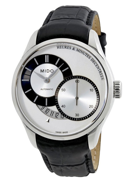 Mido Belluna II Heures & Minutes Decentrees Automatic Black Leather Strap Men's Watch M024.444.16.031.00