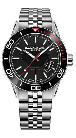 Raymond Weil Freelancer Canada Steel Mens Watch Round Case Calendar Sapphire Crystal Automatic 2760-ST5-CA150